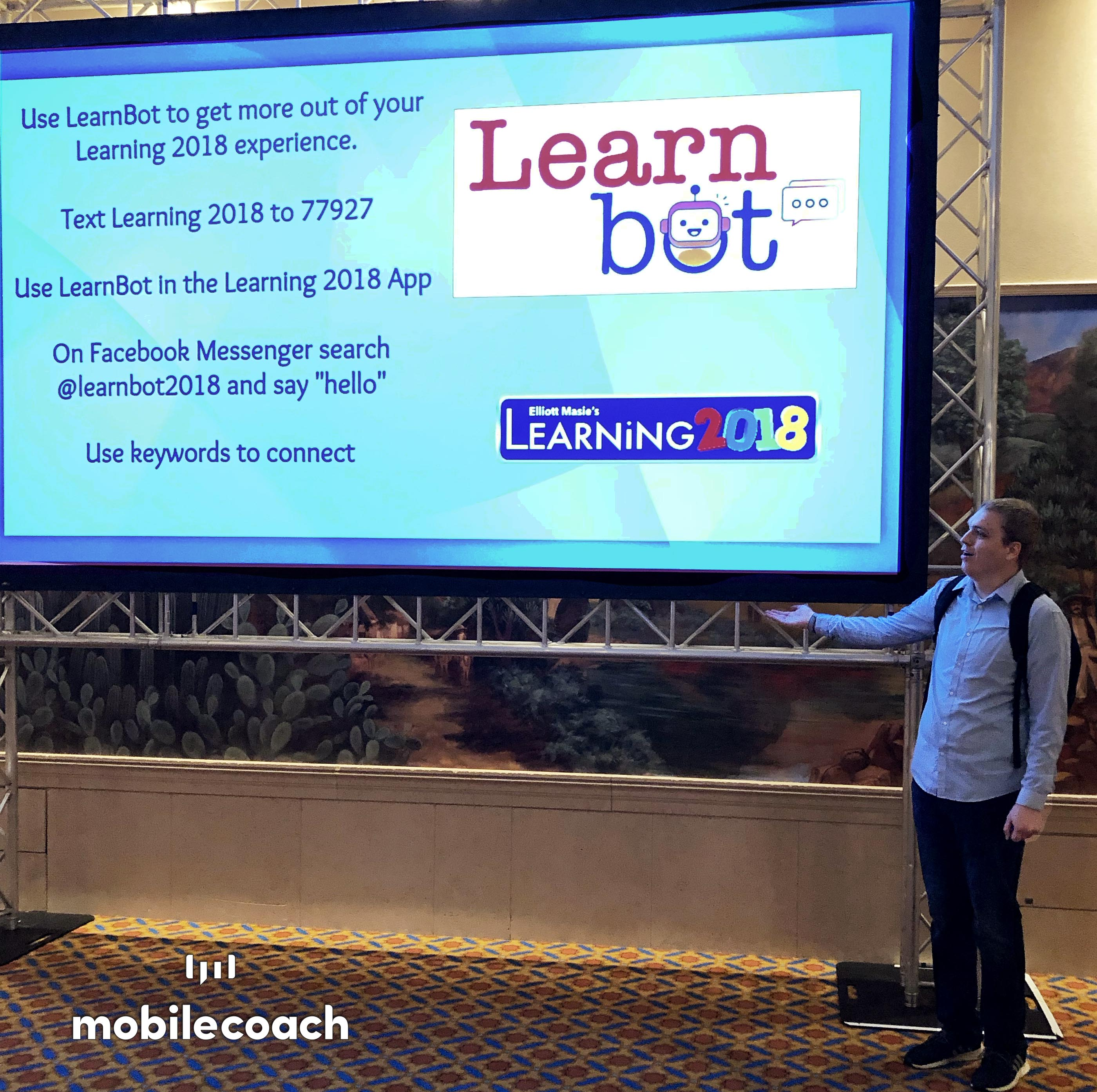 Mobile Coach at Learning 2018 with LearnBot