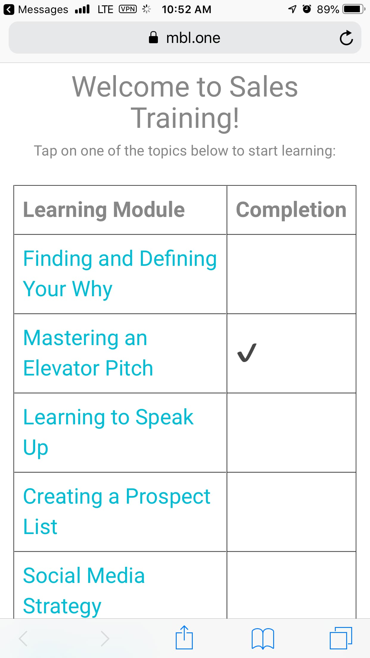 Mobile Coach Micro Learning Platform - Sales 101