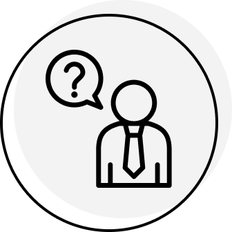 Man with a speech bubble with a question mark