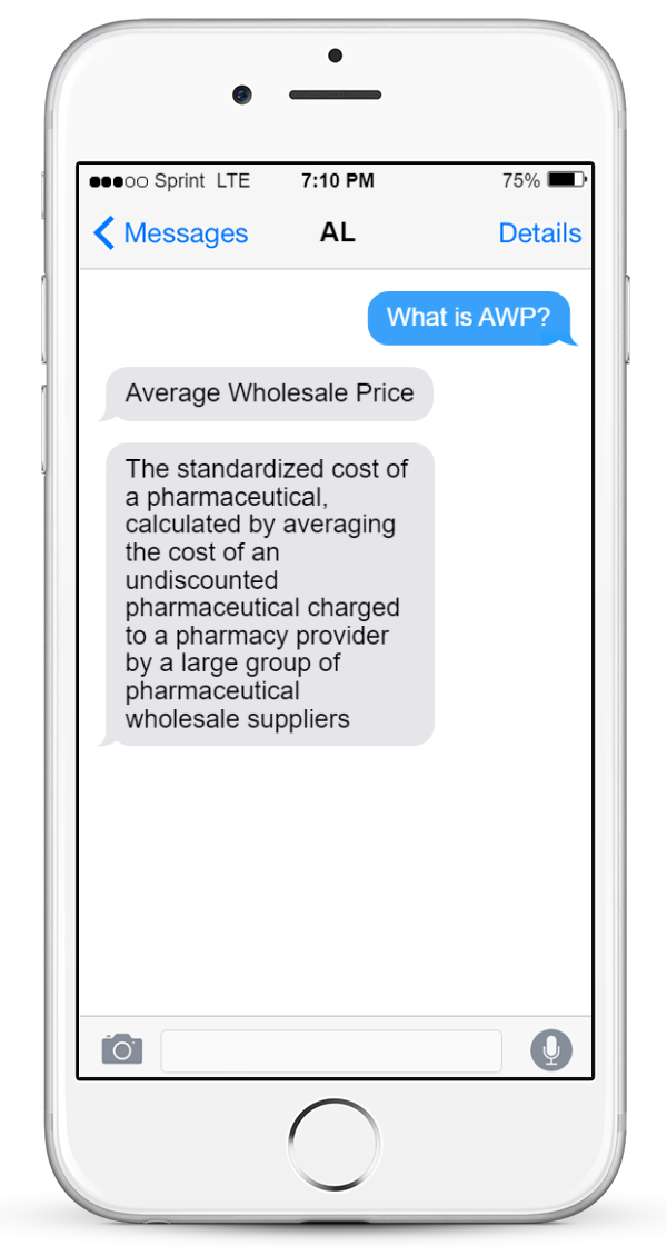 Image of a phone showing an example of what an acronym bot interaction would look like.