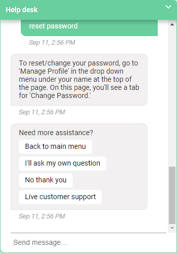 An example of revital U's customer service chatbot