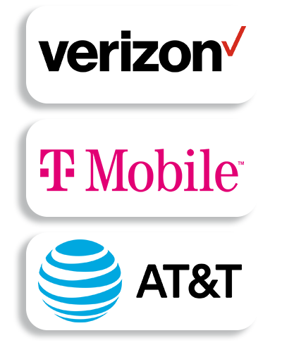 Logos of Verizon, Tmobile, At&t