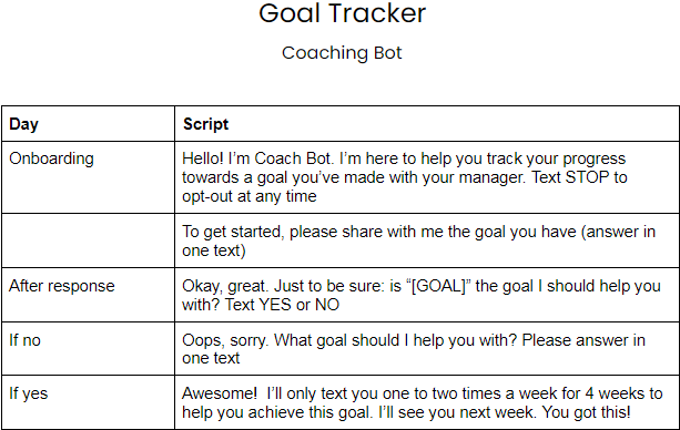 example of coaching chatbot